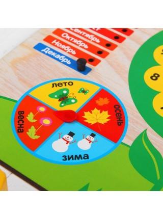 """Бизиборд Обучающая доска """"Календарь с часами: Цветочек"""" Мастер игрушек IG0200"""