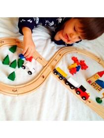 Деревянная железная дорога со станциями, 48 деталей