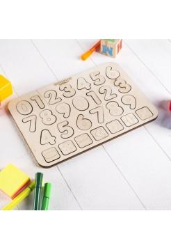 "Рамка-вкладыш ""Изучаем цифры и знаки"" (неокрашенная) WoodLand Toys 091201"