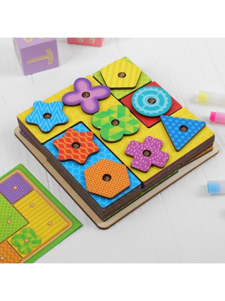 Логическая геометрия, головоломка квадрат Тетрис (с карточками)