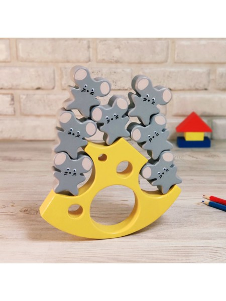 Балансир Сыр и мышки Деревянная игрушка