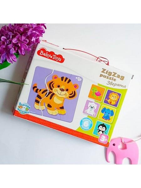 Тройные Большие зиг-заг пазлы «Зверята» Baby Toys