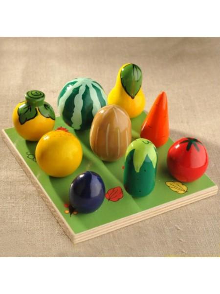 """Развивающий набор """"Веселая Грядка"""" - Овощи-фрукты, 9 предметов"""