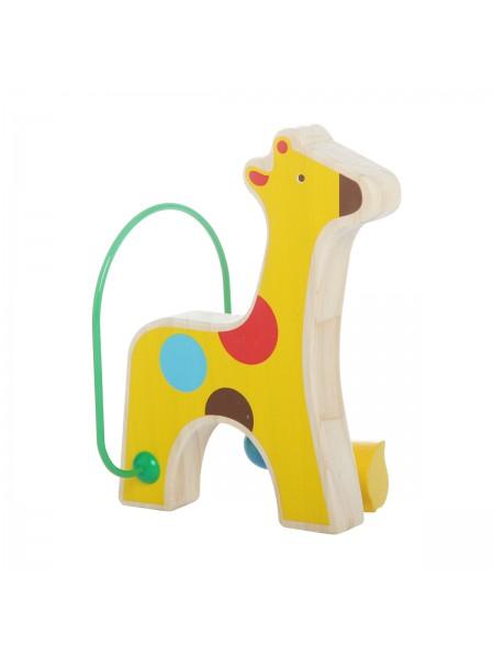 """Лабиринт """"Жираф"""" с бусинами, деревянная развивающая игрушка МДИ LL128"""