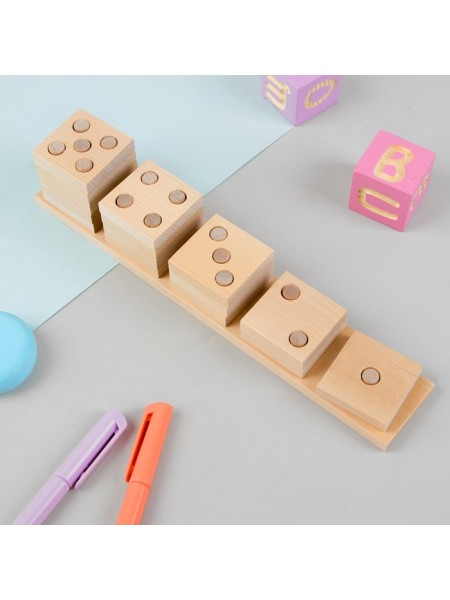 Деревянная развивающая игра Пелси Пирамидка счетная «Домино»