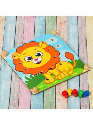 """Игрушка-мозаика с шаблонами """"Животные африки"""" (в наборе 6 карточек)"""