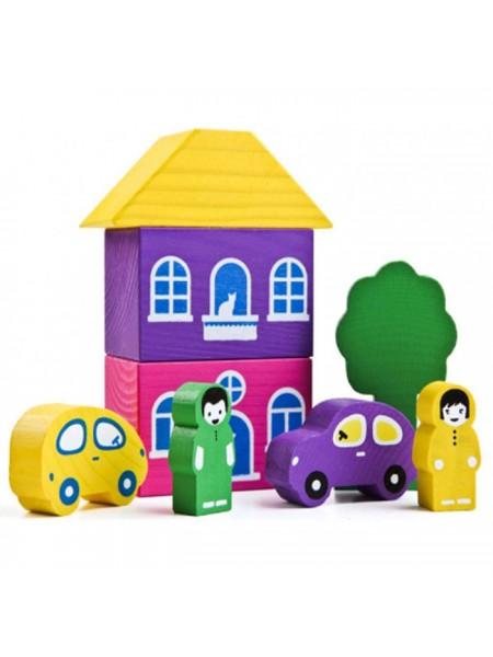 Конструктор Цветной городок, 8 дет. фиолетовый Томик 8688-2