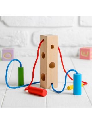 Шнуровка-сортер «Брусочек», Мир деревянных игрушек