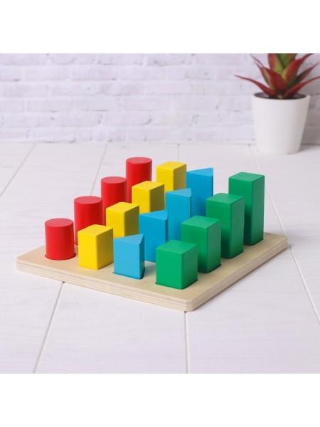 Головоломка Логические столбики «Формы», 16 цветных фигур