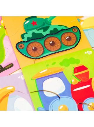 Тройные зиг-заг пазлы «Транспорт» Baby Toys