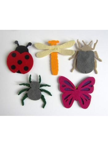 Пальчиковые игрушки Насекомые из фетра Купить