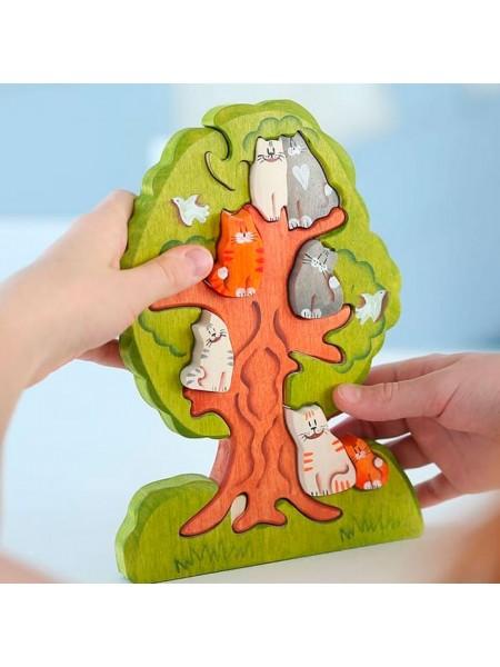 """Пазл """"Кошки на дереве"""" Сказки дерева"""