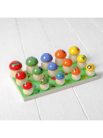 Деревянный набор Грибочки (грибы) на поляне 15 шт, 45/786 - купить в интернет магазине умныйслон.рф