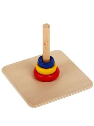 Логическая Пирамидка с тремя кольцами разного диаметра и цвета