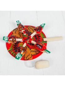 Богородская игрушка Курочки на кормушке