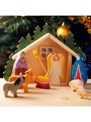 Рождество, хлев (ручная роспись), Сказки дерева