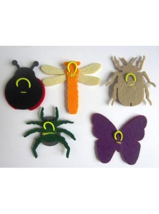 Пальчиковые игрушки Насекомые из фетра, Smile Decor Ф001
