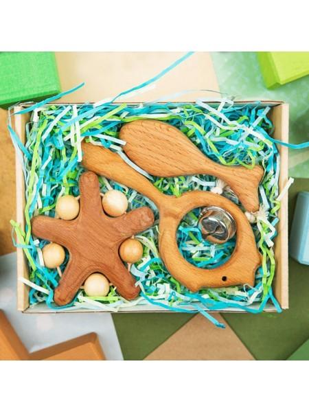 Подарочный набор деревянных погремушек Сокровища синего моря маленький, Леснушки L1705