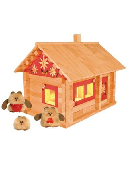 Конструктор «Избушка – Три медведя» (139 элементов, с куклами, мебелью, росписью и электропроводкой), Пелси