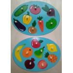Рамка-вкладыш  Фрукты и овощи, 16 деталей