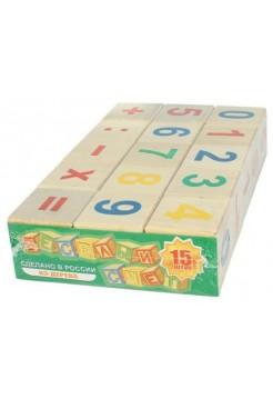 Набор деревянных кубиков «Веселый счет», 15 штук