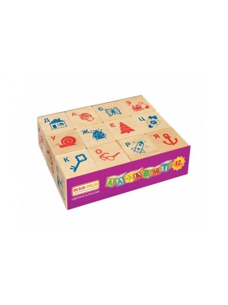 Деревянные Кубики Алфавит и рисунок, 12шт. Пелси И674