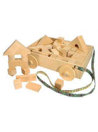 Набор деревянных геометрических форм в тележке