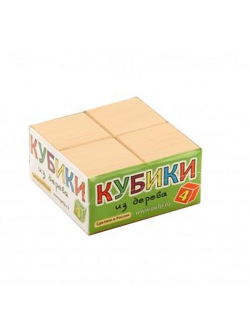 Деревянные Кубики неокрашенные, 4 шт. Пелси И659 купить