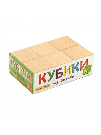 Деревянные Кубики Неокрашенные, 6 шт. Пелси ПИ662 купить