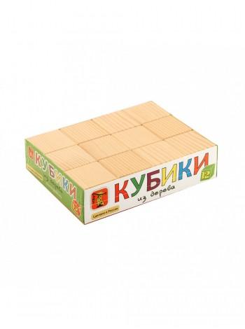 Деревянные Кубики Неокрашенные, 12 шт. Пелси ПИ661 купить