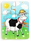 """Деревянный пазл """"Корова на лугу"""", 6 элементов, купить"""