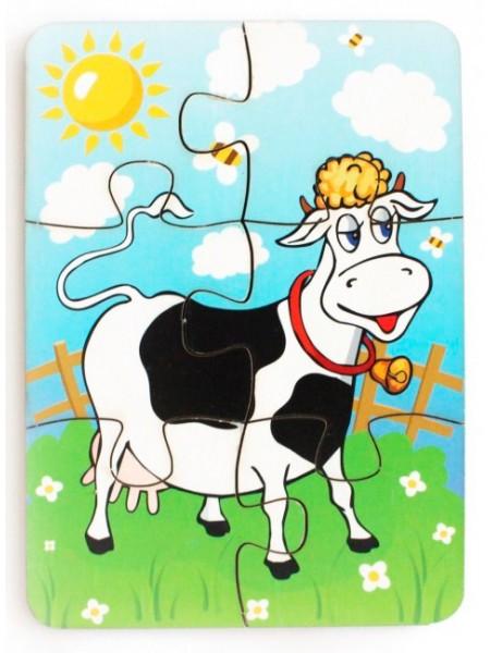 """Деревянный пазл """"Корова на лугу"""", 6 элементов, 274937, Щепочка"""