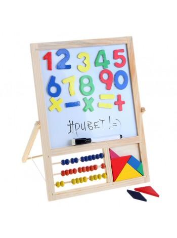 Доска магнитная двухсторонняя счеты, танграм, мел, цифры, маркер купить