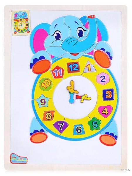 """Пазл магнитный """"Слоненок с часами"""" (37 элементов)"""