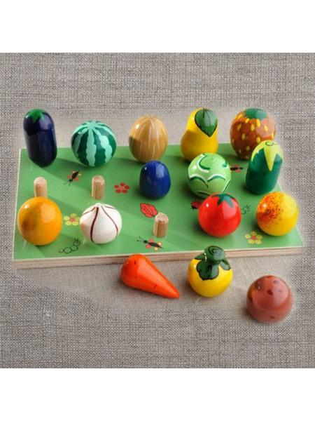 """Развивающий набор """"Веселая Грядка"""" - Овощи-фрукты, 15 предметов"""