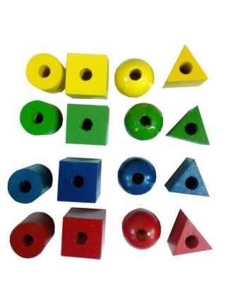 Шнуровка бусины геометрические фигуры цветных, RNToys Д-710 (16шт)
