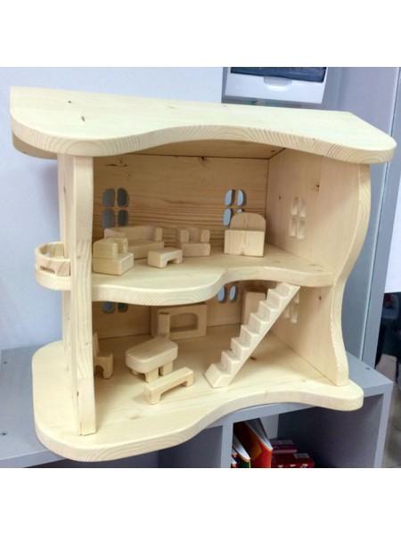 Деревянный кукольный дом с мебелью (2 этажа)