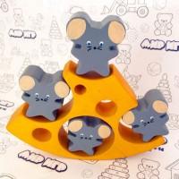 Деревянная игрушка Балансир «Сыр и мышки»