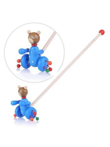 Деревянная каталка Мишка на палочке 50см,с бубенцами купить