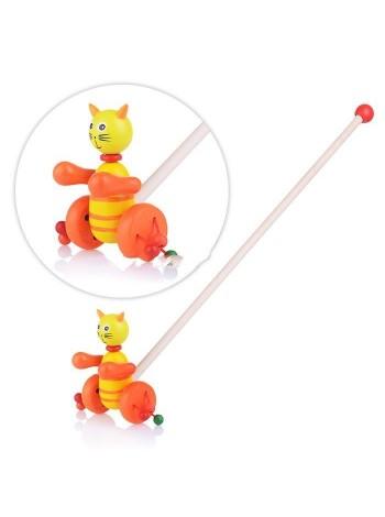 Деревянная каталка Кошка на палочке, с бубенцами купить