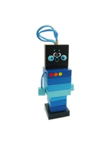 Пирамидка-шнуровка деревянная Робот, 9 деталей купить