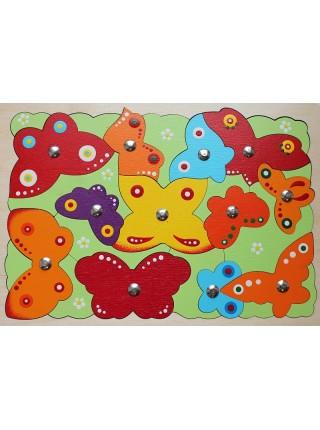 """Магнитная мозайка - пазл-рыбалка """"Бабочки"""", Крона 143-025"""