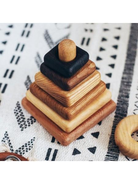 Пирамидка квадратная деревянная 6 пород, Леснушки L0401