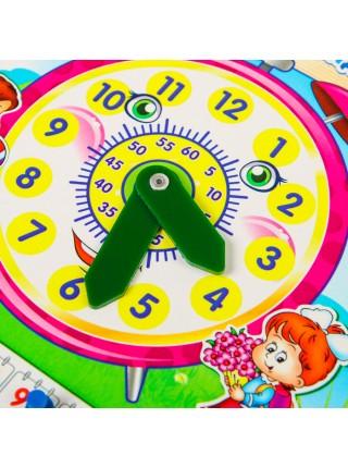 Обучающая доска Часы-календарь, из дерева