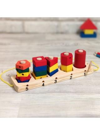 Логическая пирамидка-шнуровка (формы и цвета)