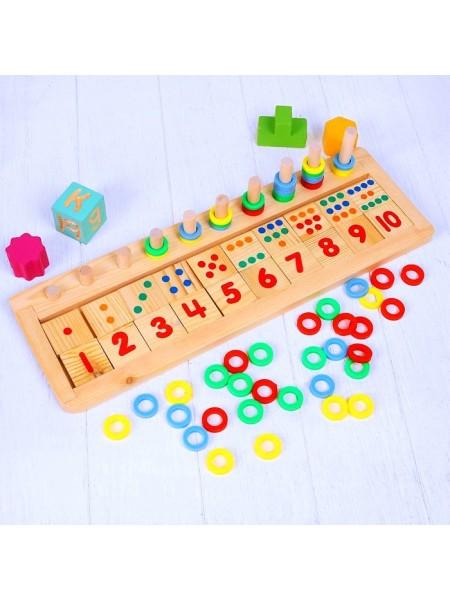 """Пирамидка-сортер для развития логики и счёта - Счетная доска """"Счет до 10"""""""