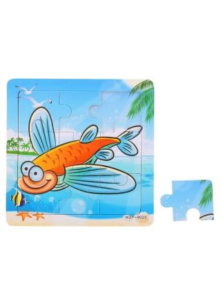 Деревянный Пазл Рыбка, 9 элементов
