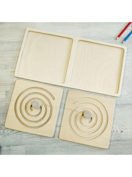Межполушарная доска, со съемными вкладками - деревянный лабиринт (круг)