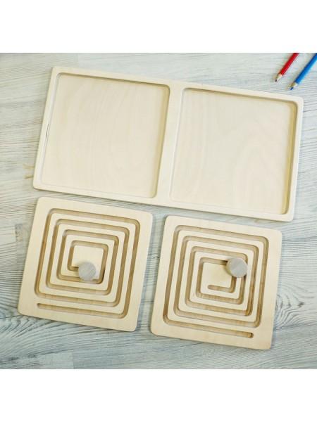 Межполушарная доска, со съемными вкладками - деревянный лабиринт (квадрат)