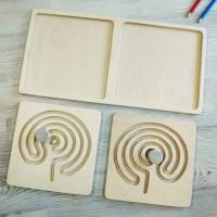 Межполушарная доска, со съемными вкладками - деревянный лабиринт (мозг)